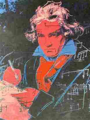 ANDY WARHOL Signed AP Lithograph Beethoven Artwork