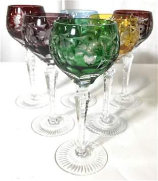 Set 6 Bohemian Art Glass Cut Crystal Goblets