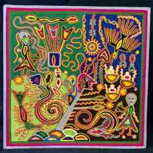 JOSE BENITEZ SANCHEZ Signed Yarn Painting on Wood