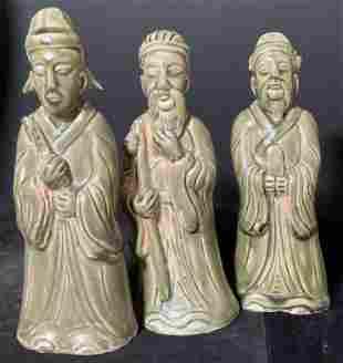 Set 3 Asian Glazed Ceramic Men Figurals