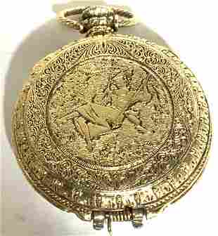 Vintage Brushed Gold Pocket Watch Pendant, Jewelry