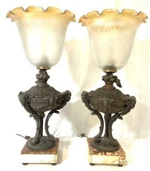 Pair Vintage Rams Head Metal Lamps W Marble Bases