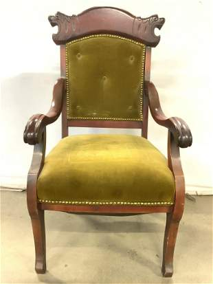 Vntg Wood Upholstered End Chair W Nailhead Detail