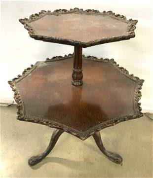 Antique 2 Tier Carved Wooden Pie Crust Table