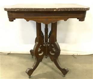 Antique Victorian East Lake Marble Top Table