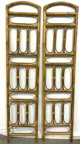 Pair Vintage Bamboo Room Divider Screen Sections