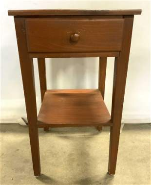 Vintage Wooden Side Table W Drawer