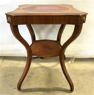 Vintage Leather Top Carved Wooden Side Table