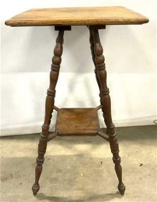 Antique 2 Tier Parlor Lamp Table Side Table