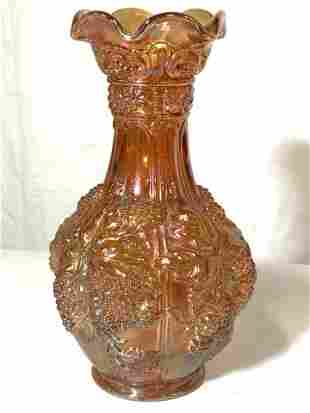 Vintage CARNIVAL GLASS VASE, Embossed grape vine