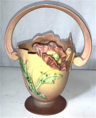 ROSEVILLE POPPY Art Pottery Basket Vase 347-8
