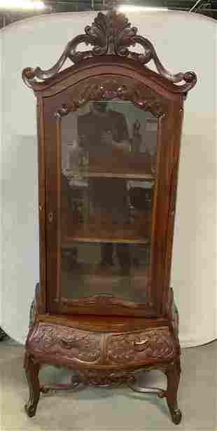 Vintage Carved Wood Curio Cabinet