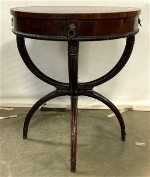 Antique Leather Top Round Wooden Side Table