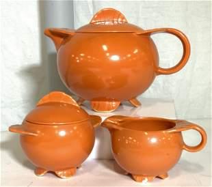 MCM ORANGE PORCELAIN TEA SET 15