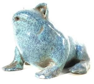 Pair Blue Ceramic Frog Vessels