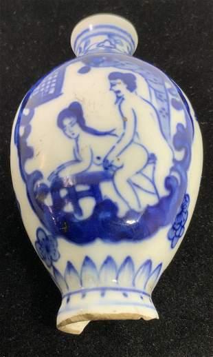 Vntg Sign Asian Blue & White Ceramic Snuff Bottle