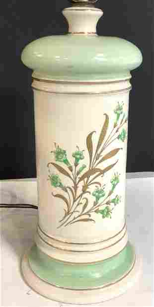 Vintage Ceramic Table Lamp with Flowers