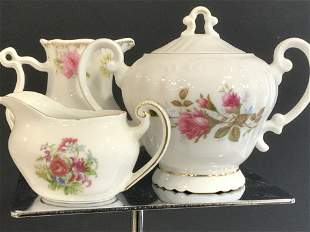 Group 3 Vintage Porcelain Sugar Bowl and Creamers