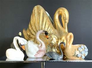 Group Lot 6 Hand Painted Swan Figure Trinket Bowls