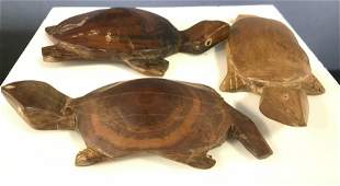 Group 3 Carved Wood Turtle Figurals