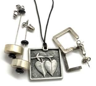 3pc Vintage Geometric Jewelry, Sign VILMAIN & More