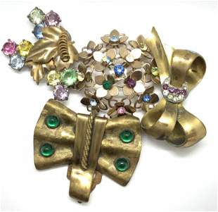 Lot 4 Ribbon & Nature Motif Brooches, Jewelry