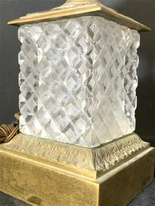 Cut Crystal & Brass Tabletop Lamp, Lighting