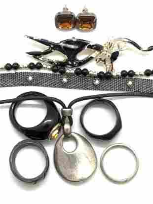 9pc Black & Metallic Jewelry, BLACK JADE & More