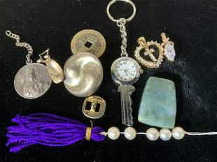 Lot Sterling, Crystal Pendants, Accessory Pieces