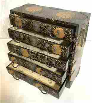VNTG JAPANESE INLAID BRASS & LACQUER Jewelry Box