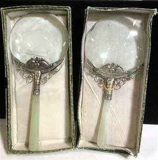 Pair Jade Handle Magnifying Glasses in Org Box