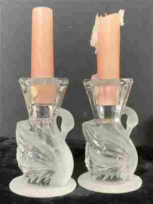 Pair Art Glass Frosted Swan Candlesticks