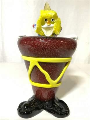 Vintage MURANO Glass Clown W Red Drum