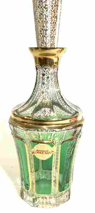Gilt & Green Etched Bohemia Decanter with Stopper