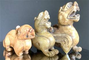 Lot 3 Carved Stone Foo Dog Figurals