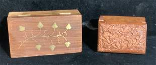 Lot 2 Carved Wooden Trinket Boxes