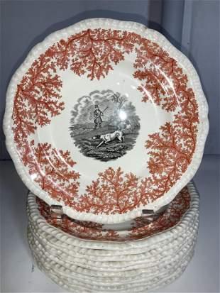 Set 12 SPODE FOX HUNT MOTIF Porcelain Plates, Eng