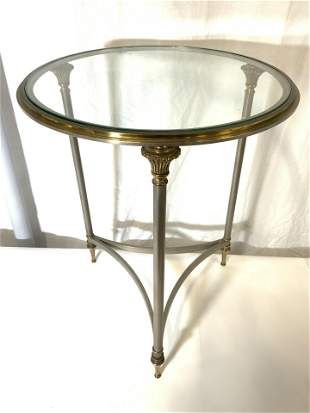 Vintage Brass & Metal Glass Top Round Side Table