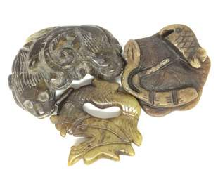 3 Asian Stone Carved Figurals, FuDog, Dragon, Fish
