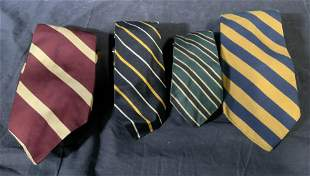 Group Lot Striped Silk & Polyester Ties