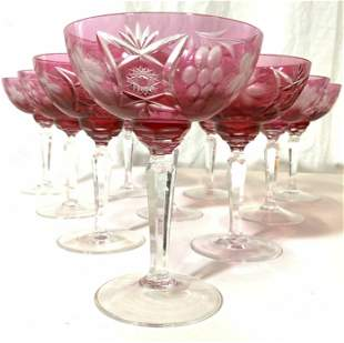 Set 12 Cut Crystal Cranberry Art Glass Stemware