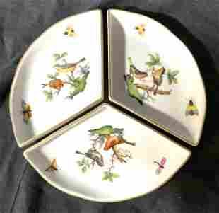 Set 3 Hand Painted HEREND Porcelain Dishes