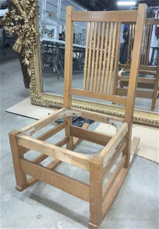 Mission Style Oak Wood Rocking Chair Frame
