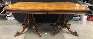 Vntge Inlaid Double Pedestaled Wooden Dining Table