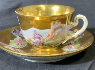 Pair ANTIQUE CAPIDIMONTE Hallmarked Gilt Tea For 1