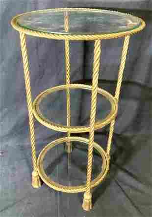 3 Tier Gilt Bronze & Glass Table/ Floor Shelf