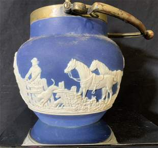 ADAMS Blue Jasperware Vessel with Brass lid, Eng.