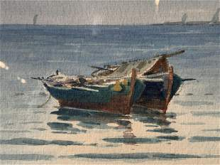 Signed Watercolor Painting of Ships at Sea Artwork