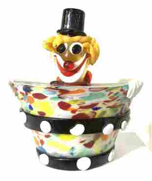 Authentic Spotted Murano Glass Bowl w/ Clown Face