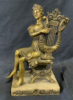Brass & Marble Sculpture of Harp Player